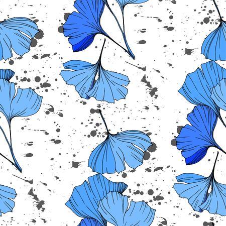 Vector Blue lginkgo eaf. Plant botanical garden floral foliage. Engraved ink art. Seamless background pattern. Fabric wallpaper print texture.