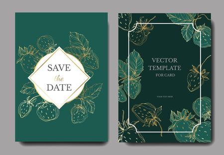 Vector Strawberry fruits. Leaf plant botanical garden floral foliage. Engraved ink art. Wedding background card floral decorative border. Invitation elegant card illustration graphic set banner.
