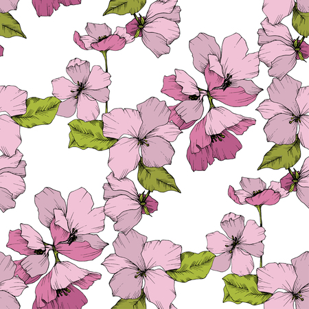 Vector Appe blossom floral botanical flowers illustration. Wild spring leaf isolated. Pink and green engraved ink art. Seamless background pattern. Fabric wallpaper print texture.