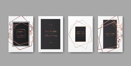 Vektor Hochzeitshintergrundkarten dekorative Blumengrenze. Danke, Rsvp, Einladung elegante Kartenillustrations-Grafiksatzfahne. Schwarz-weiß gravierte Tinte Art.-Nr.