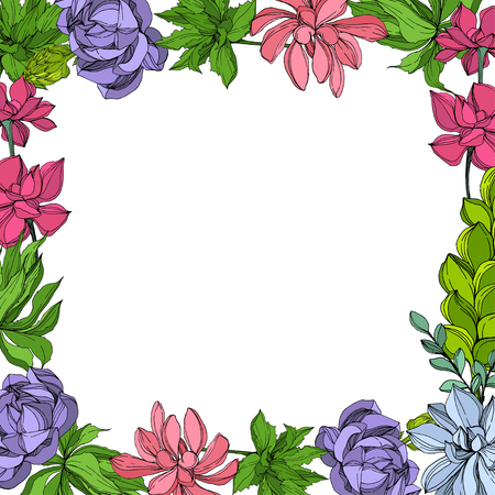 Fiore succulente botanico della giungla di vettore. Foglia selvaggia della sorgente isolata. Illustrazione di arte dell'inchiostro inciso. Cornice bordo ornamento quadrato. Vettoriali