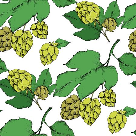 Vector Green engraved humulus ink art. Green leaf. Leaf plant botanical garden floral foliage. Seamless background pattern. Fabric wallpaper print texture.