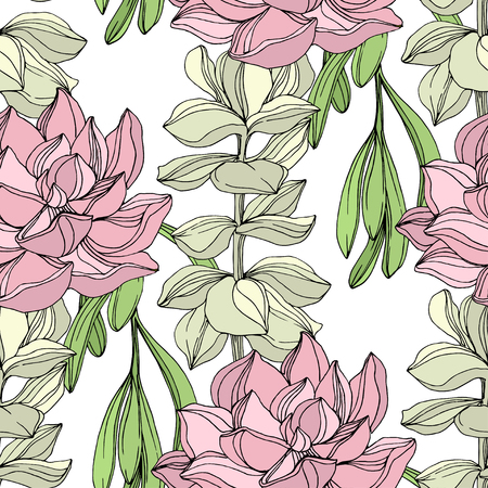 Vector Jungle botanical succulent flower. Wild spring leaf isolated. Engraved ink art illustration. Seamless background pattern. Fabric wallpaper print texture.
