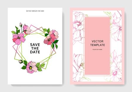 Vector Pink rosa canina. Floral botanical flower. Engraved ink art. Wedding background card floral decorative border. Thank you, rsvp, invitation elegant card illustration graphic set banner.