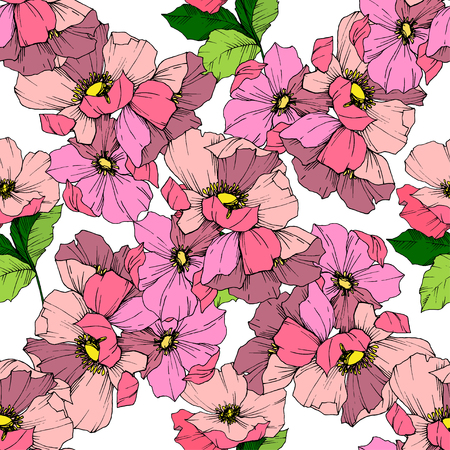 Vector Pink rosa canina. Floral botanical flower. Wild spring leaf wildflower isolated. Engraved ink art. Seamless background pattern. Fabric wallpaper print texture.