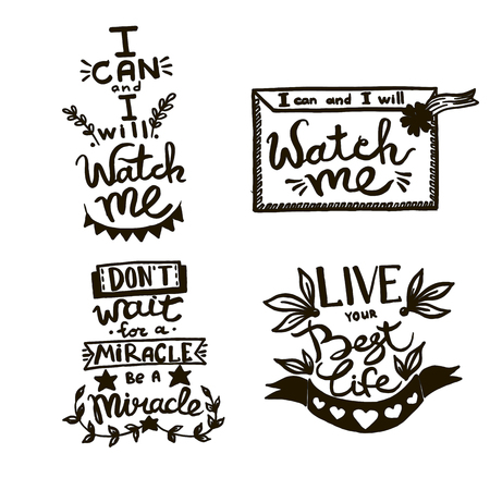 Vector Chalkboard phrase handwriting calligraphy. Black and white engraved ink art. Isolated quotes illustration. Illustration