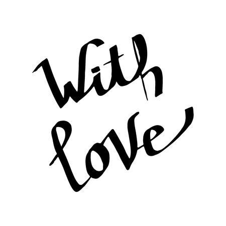 Vector With Love handwriting monogram calligraphy. Black and white engraved ink art. Isolated text illustration element. Hand lettering graphic desing.