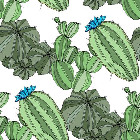 Vector Green Cactus. Floral botanical flower. Green engraved ink art. Seamless background pattern. Fabric wallpaper print texture.