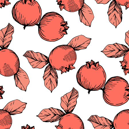 Vector Blueberry black and coral engraved ink art. Berries and leaves. Leaf plant botanical garden floral foliage. Seamless background pattern. Fabric wallpaper print texture.