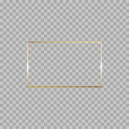 Goud glanzend gloeiende vintage frame geïsoleerd op transparante achtergrond. Gouden luxe realistische rechthoekrand. Vectorillustratie gegraveerde inkt kunst. Vector Illustratie