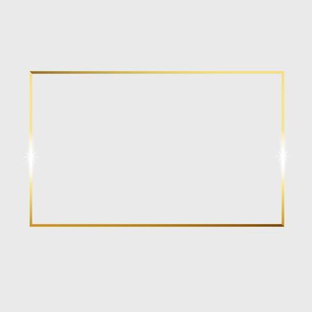 Cornice d'epoca incandescente lucido oro isolato su sfondo trasparente. Illustrazione del bordo vettoriale incisa arte dell'inchiostro.
