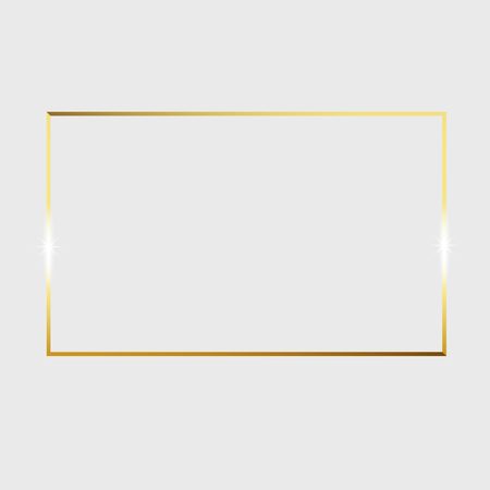 Gold shiny glowing vintage frame isolated on transparent background. Vector border illustration engraved ink art.