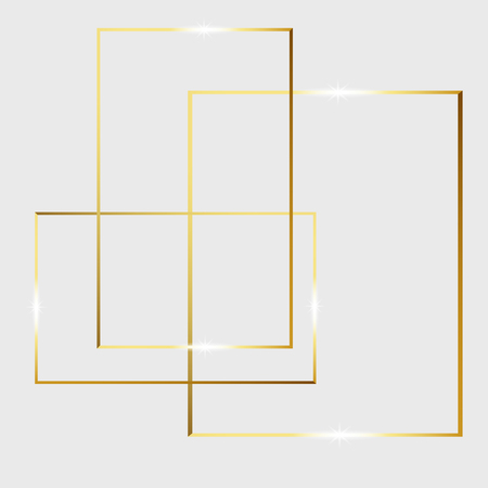 Gold shiny glowing vintage frame isolated on transparent background. Golden luxury realistic rectangle border. Vector illustration engraved ink art.