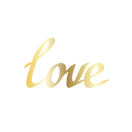 Vector Love handwriting monogram calligraphy on white background. Isolated text illustration element. Golden engraved ink art.