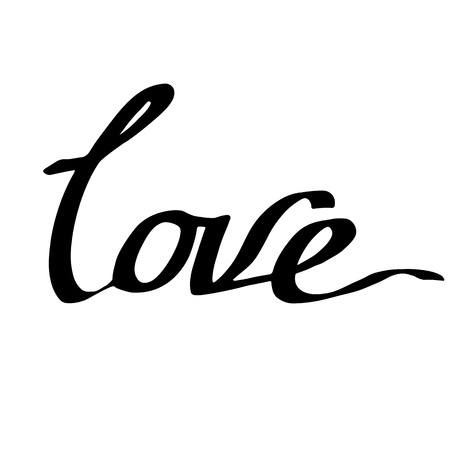 Vector Love handwriting monogram calligraphy on white background. Isolated text illustration element. Black and white engraved ink art.