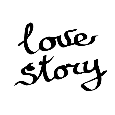 Vector Love story handwriting monogram calligraphy on white background. Isolated text illustration element. Black and white engraved ink art.