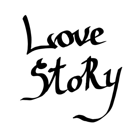 Vector Love story handwriting monogram calligraphy on white background. Isolated text illustration element. Black and white engraved ink art. Reklamní fotografie - 124993711