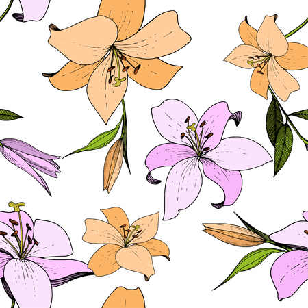 Vector Lily floral botanical flower. Wild spring leaf wildflower isolated. Engraved ink art. Seamless background pattern. Fabric wallpaper print texture. Ilustrace