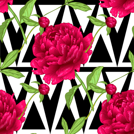 Vector red peony floral botanical flowers. Wild spring leaf wildflower isolated. Engraved ink art. Seamless background pattern. Fabric wallpaper print texture. Ilustrace