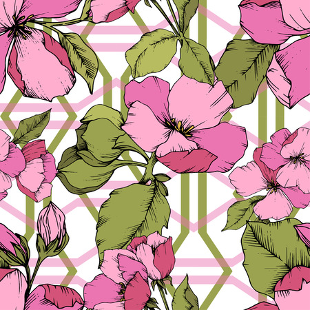 Vector Pink Apple blossom floral botanical flower. Wild spring leaf isolated. Engraved ink art. Seamless background pattern. Fabric wallpaper print texture.