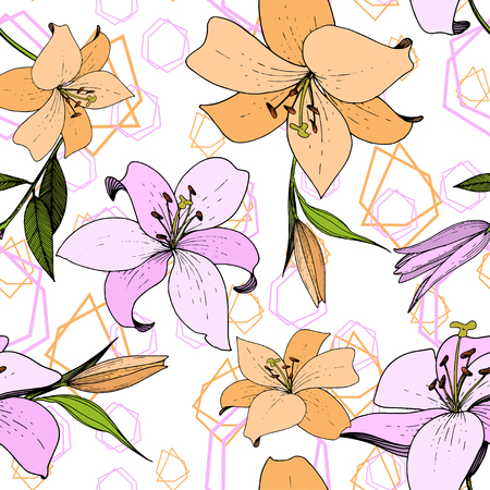 Vector Lily floral botanical flower. Wild spring leaf wildflower isolated. Engraved ink art. Seamless background pattern. Fabric wallpaper print texture. Illustration