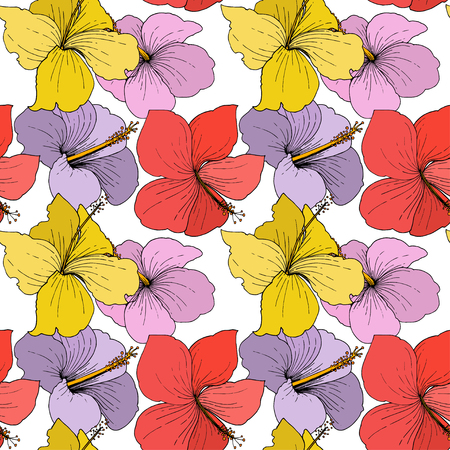 Vector Hibiscus floral tropical flowers. Wild spring leaf wildflower isolated. Engraved ink art on white background. Seamless background pattern. Fabric wallpaper print texture. Stock Vector - 124771207
