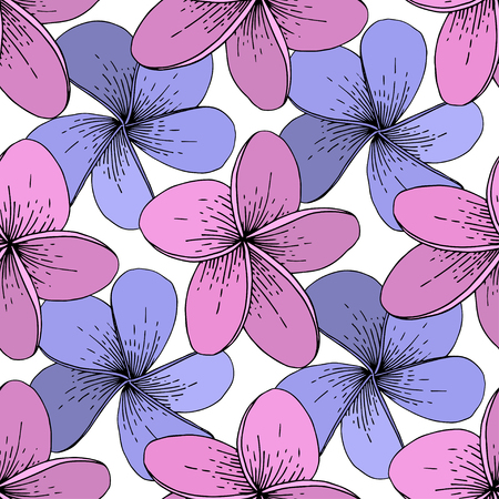 Vector Hibiscus floral tropical flowers. Wild spring leaf wildflower isolated. Engraved ink art on white background. Seamless background pattern. Fabric wallpaper print texture. Stock Vector - 124771213