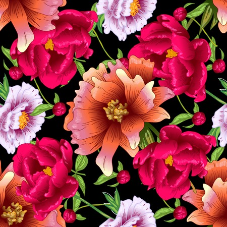 Vector red and pink peony floral botanical flowers. Wild spring leaf wildflower isolated. Engraved ink art. Seamless background pattern. Fabric wallpaper print texture. Stock Vector - 124771224