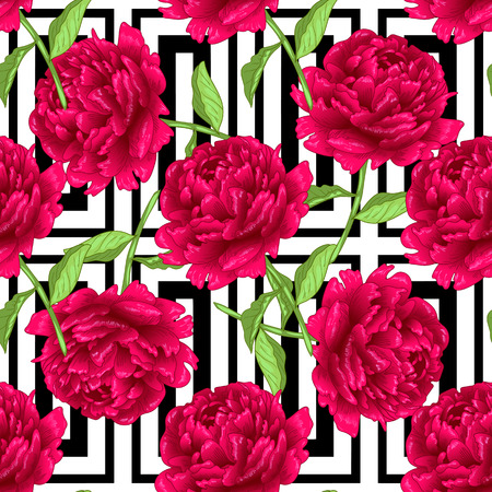 Vector red peony floral botanical flowers. Wild spring leaf wildflower isolated. Engraved ink art. Seamless background pattern. Fabric wallpaper print texture. Illustration