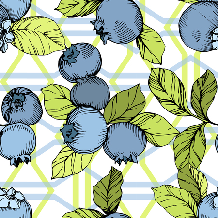 Vector Blueberry green and blue engraved ink art. Berries and green leaves. Leaf plant botanical garden floral foliage. Seamless background pattern. Fabric wallpaper print texture. Çizim