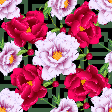 Vector red and pink peony floral botanical flowers. Wild spring leaf wildflower isolated. Engraved ink art. Seamless background pattern. Fabric wallpaper print texture. Vektorgrafik