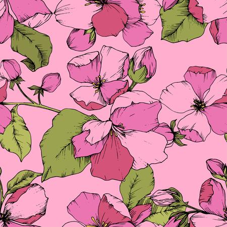 Vector Pink Apple blossom floral botanical flower. Wild spring leaf isolated. Engraved ink art. Seamless background pattern. Fabric wallpaper print texture. Standard-Bild - 124652241