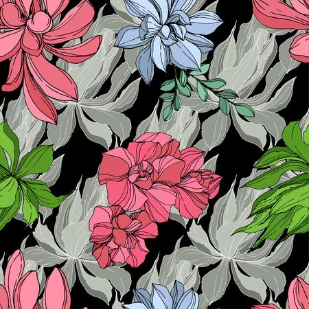 Vector Jungle botanical succulent flower. Wild spring leaf isolated. Engraved ink art illustration. Seamless background pattern. Fabric wallpaper print texture. Standard-Bild - 124654288