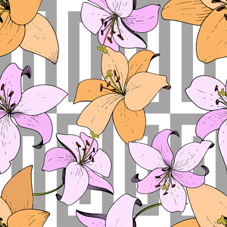 Vector Lily floral botanical flower. Wild spring leaf wildflower isolated. Engraved ink art. Seamless background pattern. Fabric wallpaper print texture. Standard-Bild - 124654297
