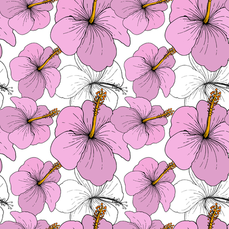 Vector Hibiscus floral tropical flowers. Wild spring leaf wildflower isolated. Engraved ink art on white background. Seamless background pattern. Fabric wallpaper print texture. Standard-Bild - 124654308