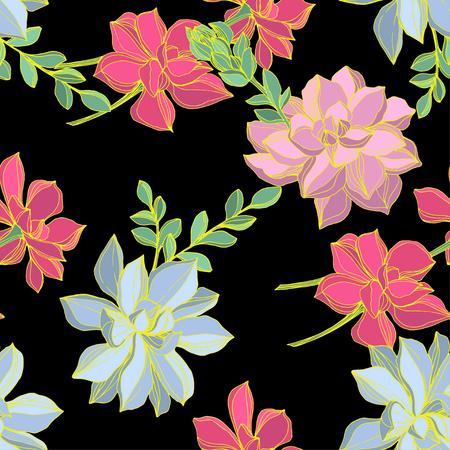 Fiore succulente botanico della giungla di vettore. Foglia di primavera selvaggia isolata. Illustrazione di arte dell'inchiostro inciso. Motivo di sfondo senza soluzione di continuità. Trama di stampa carta da parati in tessuto.
