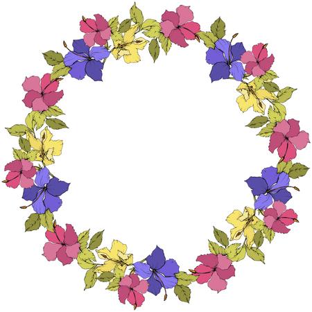 Vector Hibiscus floral botanical flower. Engraved ink art. Frame border ornament square.
