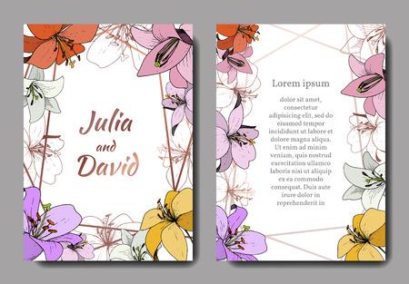 Vector Lily floral botanical flower. Engraved ink art. Wedding background card floral decorative border. Thank you, rsvp, invitation elegant card illustration graphic set banner. Vektorgrafik