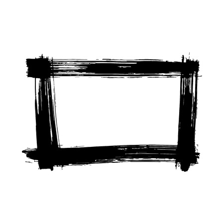 Vector Dry brush frames. Hand drawn artistic frames. Grunge brush stroke frame for text, quote, advertising design. Black and white engraved ink art. Frame border ornament square.