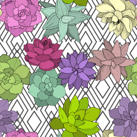Vector Succulents floral botanical flower. Wild spring leaf wildflower isolated. Engraved ink art. Seamless background pattern. Fabric wallpaper print texture.