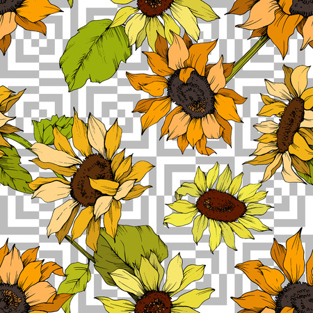 Vector Sunflower floral botanical flower. Wild spring leaf wildflower isolated. Yellow and green engraved ink art. Seamless background pattern. Fabric wallpaper print texture.