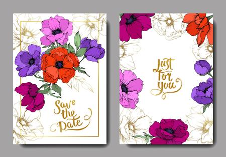 Anemone floral botanical flowers. Black and white engraved ink art. Wedding background card floral decorative border. Thank you, rsvp, invitation elegant card illustration graphic set banner.