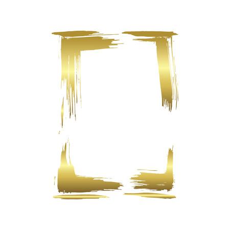 Set of dry brush frames. Hand drawn artistic frames. Grunge brush stroke frame for text, quote, advertising design. Golden engraved ink art. Isolated frame illustration element. Ilustração