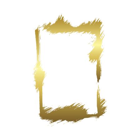Set of dry brush frames. Hand drawn artistic frames. Grunge brush stroke frame for text, quote, advertising design. Golden engraved ink art. Isolated frame illustration element. Vettoriali