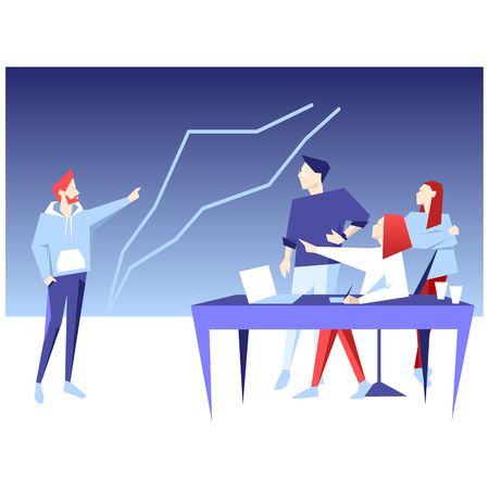Teamwork discussion, analysis and planning, business presentation on diagram sign for better results. Engraved ink art.