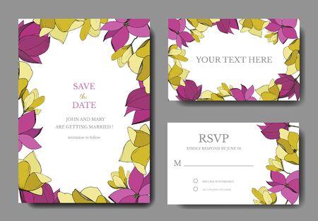 Botanische Blumen der Vektor-Magnolie. Lila und gelbe gravierte Tinte Art.-Nr. Hochzeit Hintergrundkarte floral dekorative Grenze. Vektorgrafik