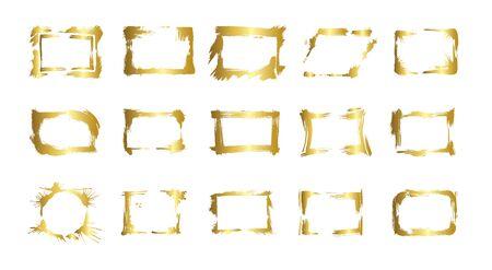 Vector Set of dry brush frames. Hand drawn artistic frames. Grunge brush stroke frame for text, quote, advertising design. Golden engraved ink art. Isolated frame illustration element. Ilustrace