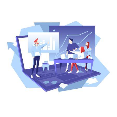 Teamwork business vector flat illustration. Man point on chart.