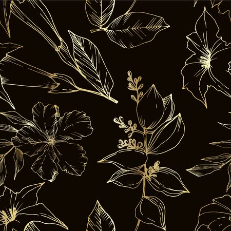 Vector Tropical flowers and leaves isolated. Black and white engraved ink art. Seamless background pattern.