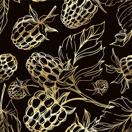Vector Raspberry healthy food isolated. Black and white engraved ink art. Seamless background pattern.